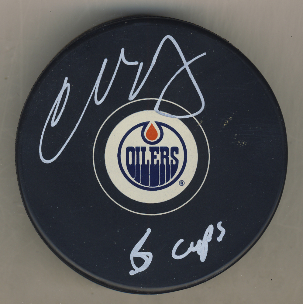 Charlie Huddy Edmonton Oilers Autgraphed Hockey Puck w/ 6 Cups Inscription
