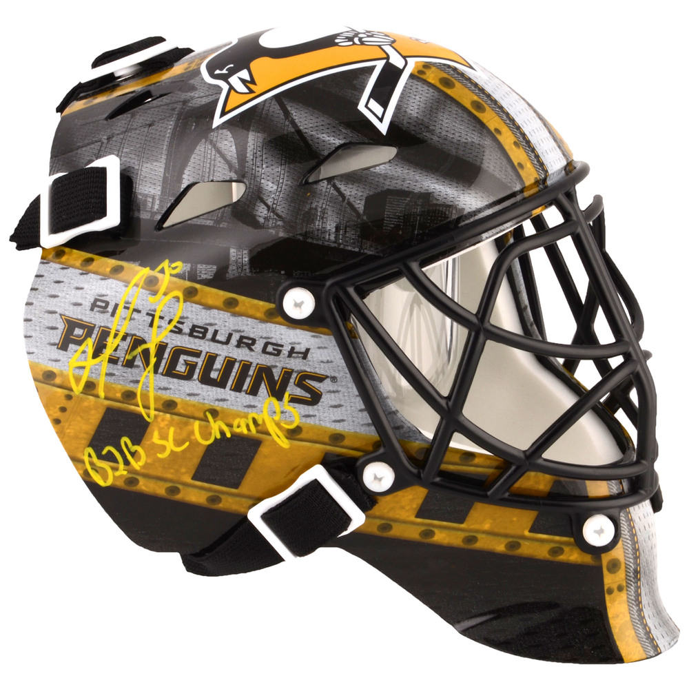 Matt Murray Pittsburgh Penguins Autographed Mini Goalie Mask with Back2Back SC Champs Inscription - #1 In a Limited Edition of 30