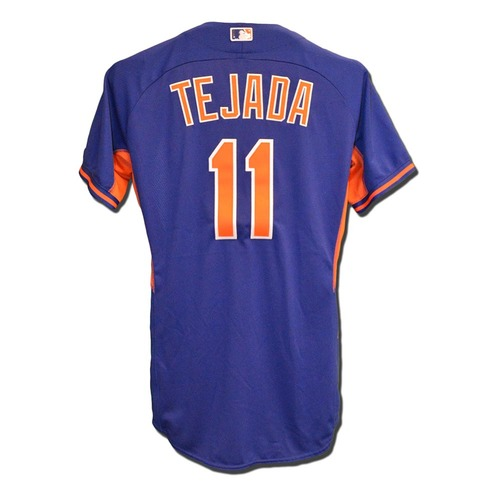 Photo of Ruben Tejada #11 - Team Issued Blue Batting Practice Jersey - 2016 Season