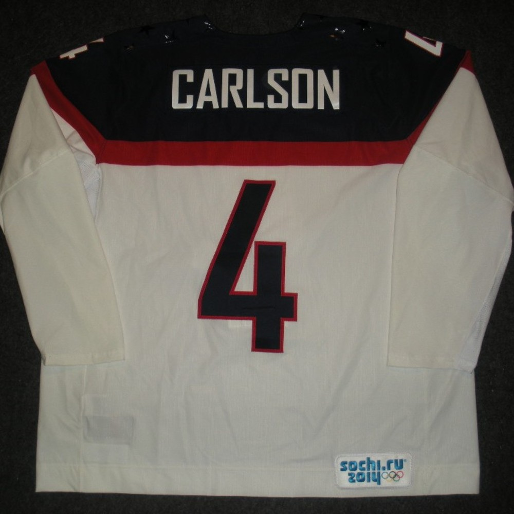 John Carlson - Sochi 2014 - Winter Olympic Games - Team USA White Game-Worn Jersey - Worn in Warmups and 1st Period vs. Slovakia, 2/13/14