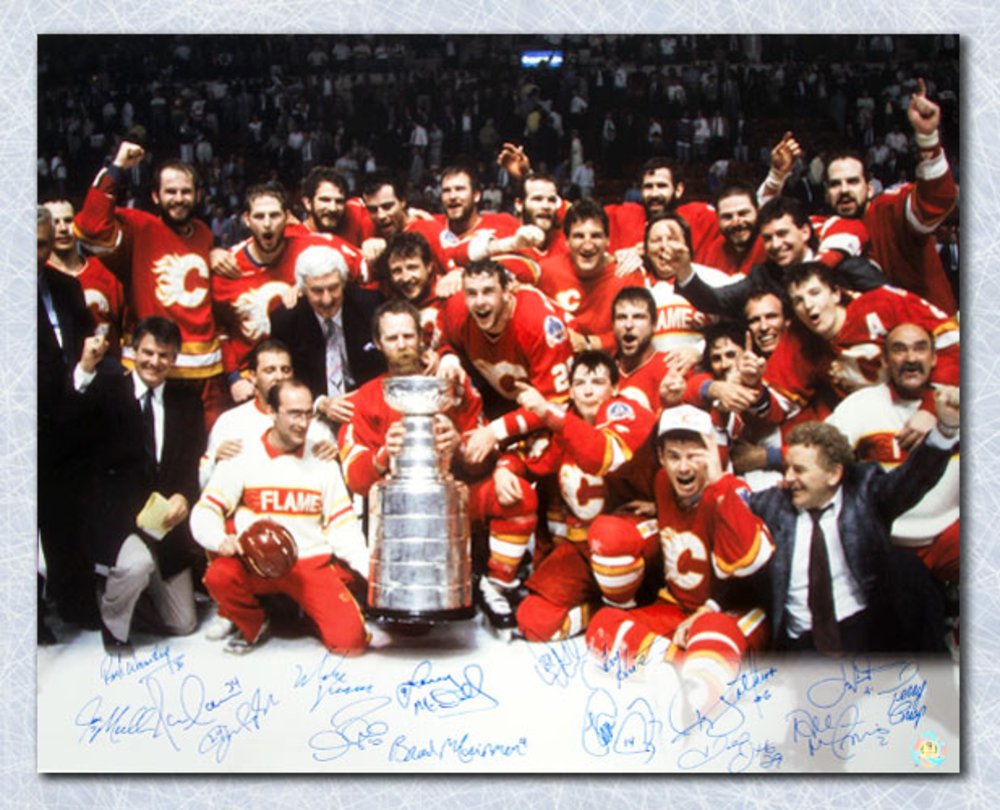 1989 Calgary Flames Team Signed Stanley Cup 16x20 Photo: 16 Autographs *McDonald, Fleury, Nieuwendyk, etc*