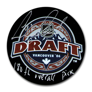 Leo Komarov Autographed 2006 NHL Entry Draft Puck w/180TH OVERALL PICK Inscription (Toronto Maple Leafs)