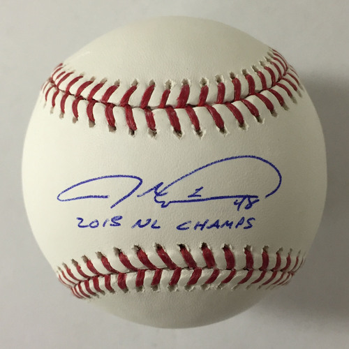 "Photo of Jacob deGrom Autographed ""2015 NL Champs"" Baseball"