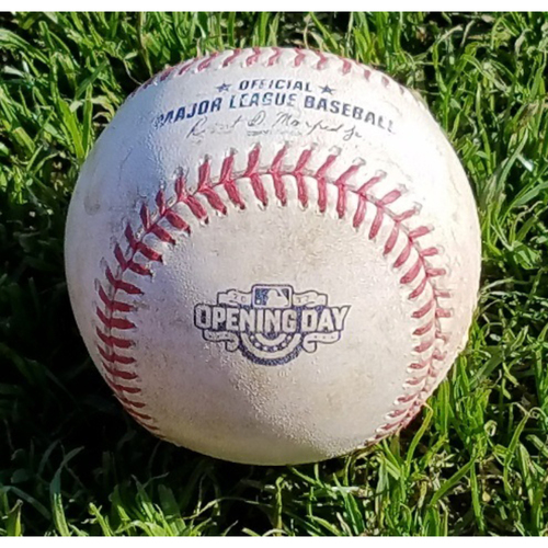 Photo of 2017 Opening Day Game-Used Baseball - Joely Rodriguez Strikeout