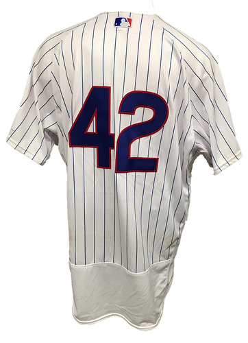 Photo of Anthony Rizzo Game-Used '42' Jersey -- Pirates vs Cubs -- 4/15/17 -- Rizzo 2 for 4