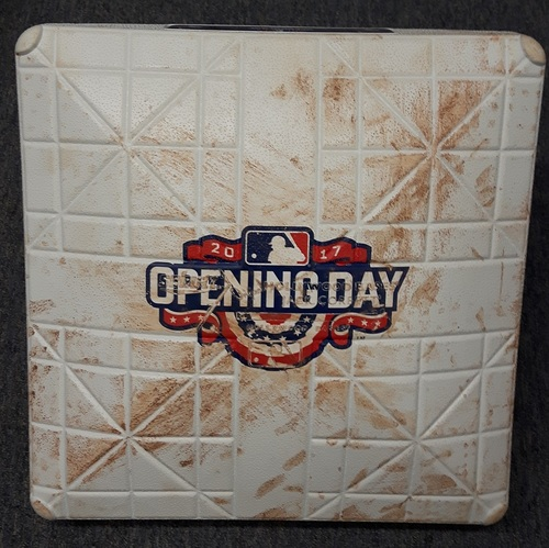 Photo of Authenticated Game Used Opening Day Base (April 11, 2017 vs Milwaukee Brewers) - 3rd Base for Innings 4 to 6.