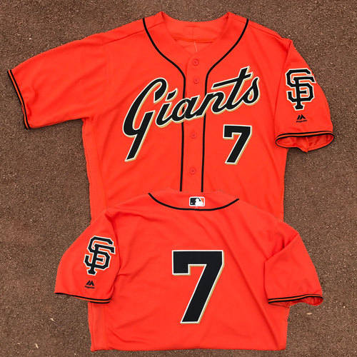 Photo of San Francisco Giants - Game-Used Jersey - Aaron Hill - Worn on 6/9/17 - 1,500th Career Hit