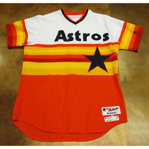 Photo of Dave Hudgens Astros Game-Used TBTC 1977 Jersey/Pants 6/24/17 Size 48