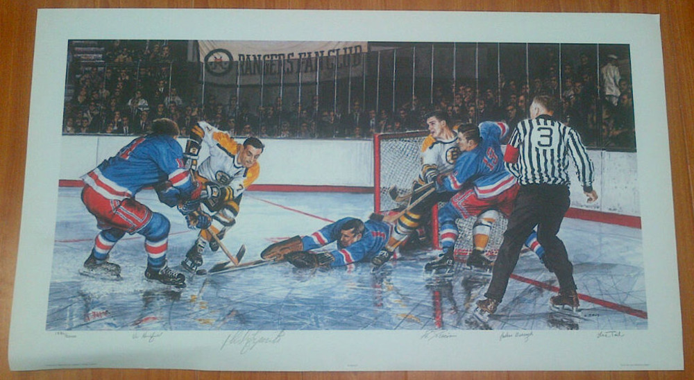 Boston Bruins vs New York Rangers Autographed Limited Edition #/2000 33x20 Art Print - GIACOMIN, HADFIELD, BUCYK, ESPOSITO