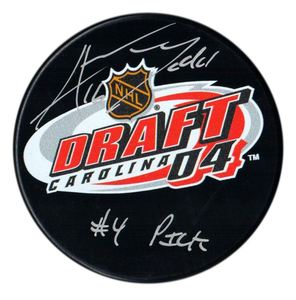Andrew Ladd - Signed 2004 NHL Draft Inscribed #4 Pick Puck