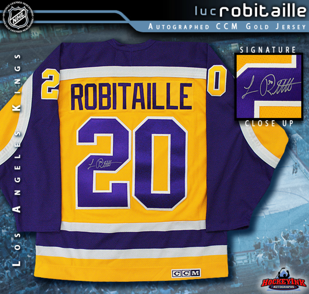 LUC ROBITAILLE Signed Retro CCM Los Angeles Kings Gold Jersey
