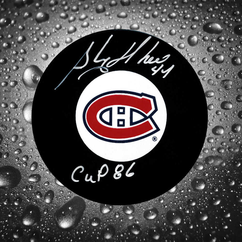 Stephane Richer Montreal Canadiens 1986 Cup Autographed Puck