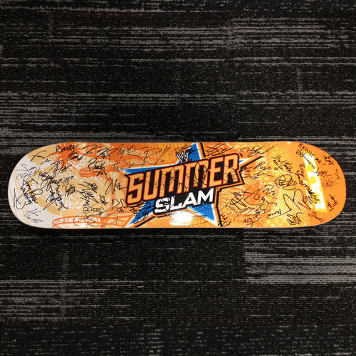Limited Edition SummerSlam 2013 Skateboard (#2 of 10) SIGNED by over 40 members of the WWE Roster
