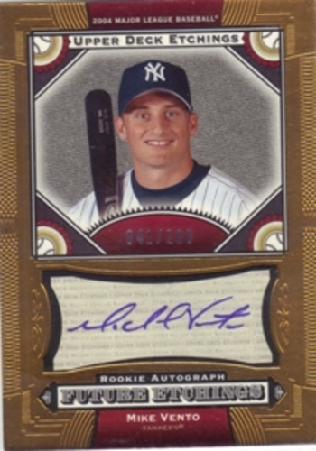 Photo of 2004 Upper Deck Etchings Blue Ink #139 Mike Vento FE RC AUTO /200