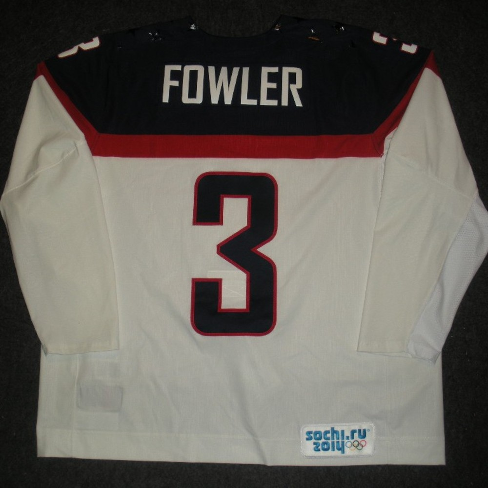 Cam Fowler - Sochi 2014 - Winter Olympic Games - Team USA White Game-Worn Jersey - Worn in 2nd and 3rd Periods vs. Slovakia, 2/13/14