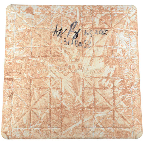 Photo of Anthony Rizzo Chicago Cubs Autographed Game-Used Base from August 18, 2015 vs. Detroit Tigers with 3rd Base, 1-5 2 RBI Inscription