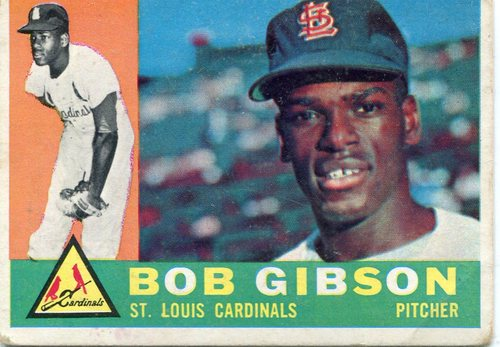 Photo of 1960 Topps #73 Bob Gibson -- Cardinals Hall of Famer