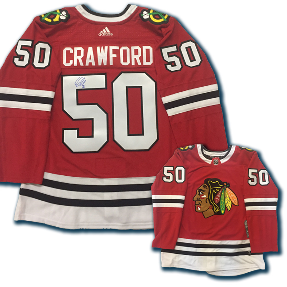COREY CRAWFORD Signed Chicago Blackhawks Red Adidas PRO Jersey