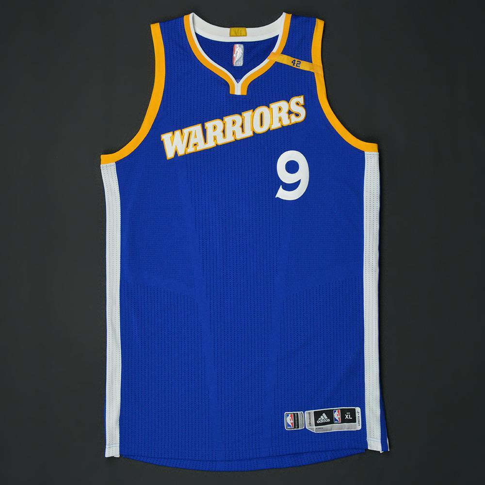 Andre Iguodala - Golden State Warriors - Game-Worn Blue Alternate w/42 Patch Jersey - 2016-17 Season
