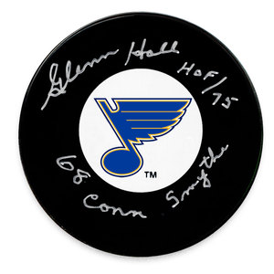 Glenn Hall St. Louis Blues 1968 Conn Smythe Autographed Puck