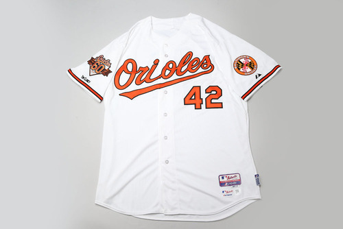 Adam Jones Game-Used & Autographed Jackie Robinson Day #42 Jersey (Home)