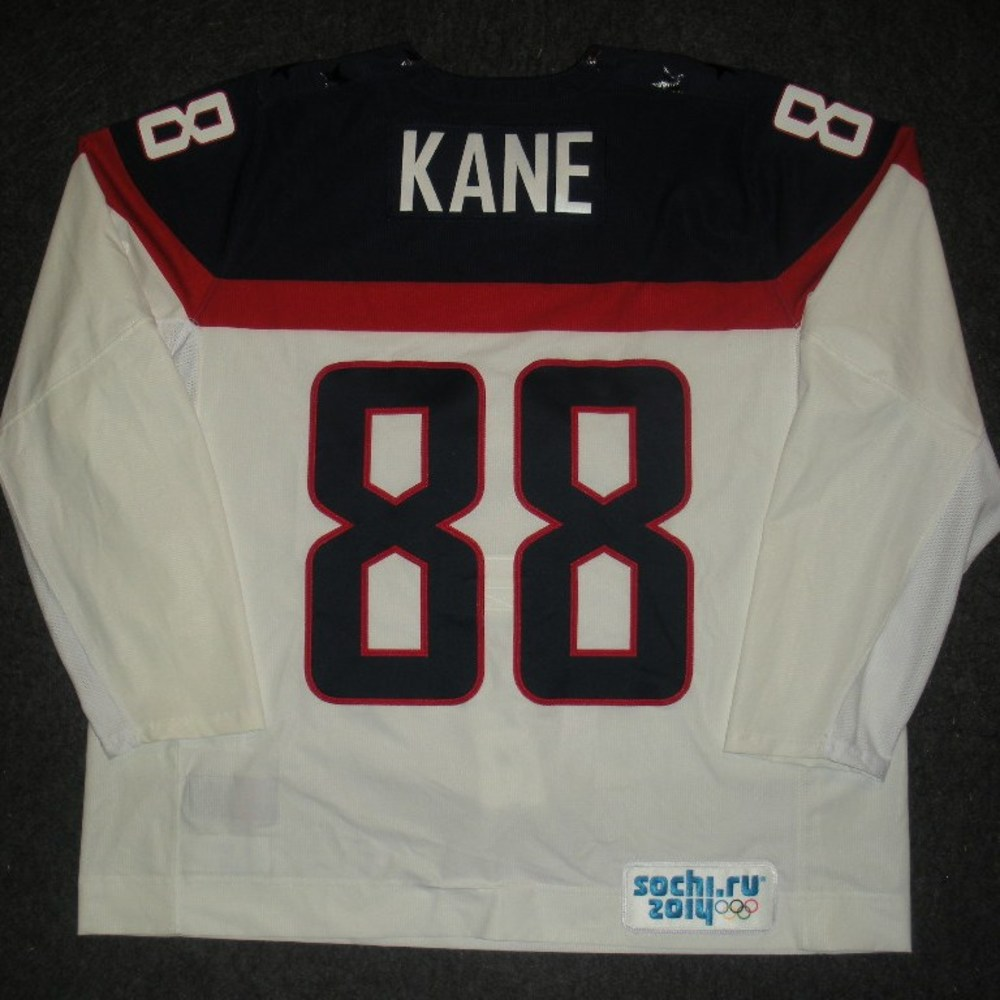 Patrick Kane - Sochi 2014 - Winter Olympic Games - Team USA White Game-Worn Jersey - Worn in 2nd and 3rd Periods vs. Slovakia, 2/13/14