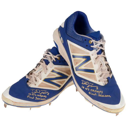 Photo of David Ross Chicago Cubs Autographed 2016 Player Collected Season-Used Pair of Cleats with 16 WS Champs and Final Season Inscription