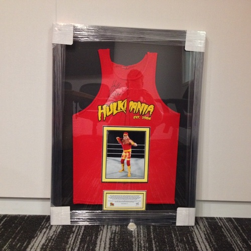 Hulk Hogan WORN & SIGNED Framed Red Hulkamania Tank Top