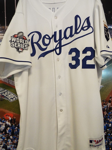 Photo of Club Issued Chris Young White 2015 World Series Jersey
