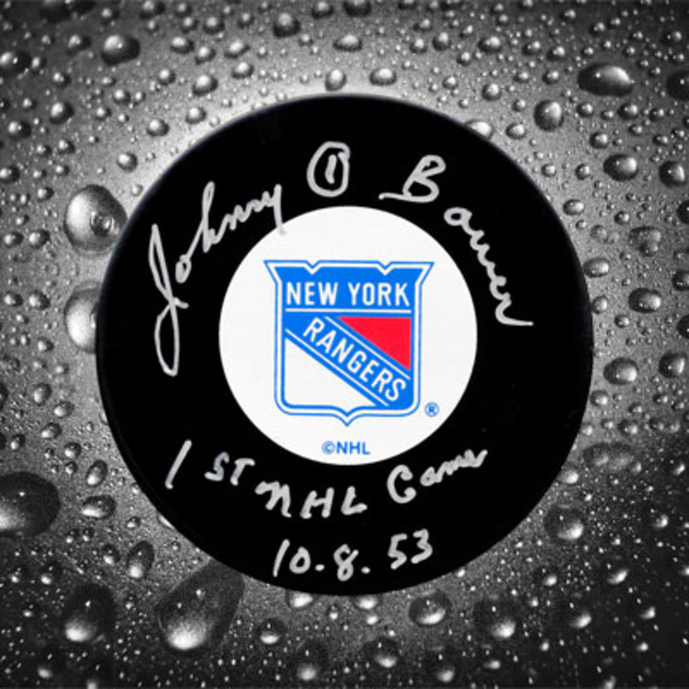 Johnny Bower New York Rangers Autographed Puck w/ 1st NHL Game 10-8-53 Inscription