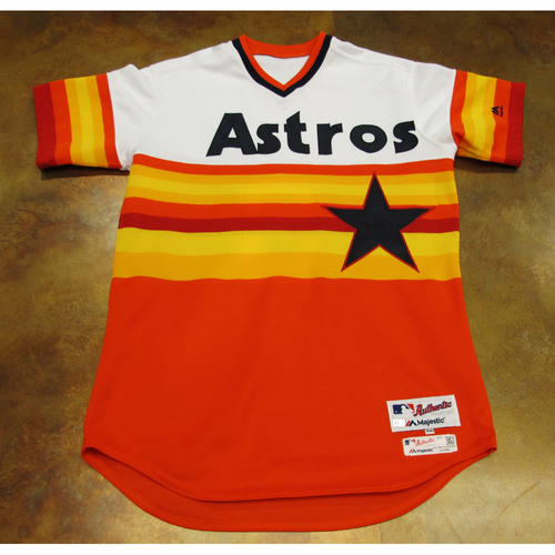 Photo of Gary Pettis Astros Game-Used TBTC 1977 Jersey/Pants/Helmet 6/24/17 Size 44