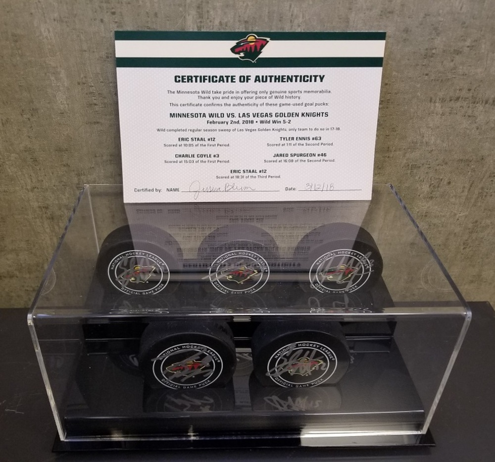 Wild Game Used Goal Puck-17-18 Sweep of Las Vegas Golden Knights