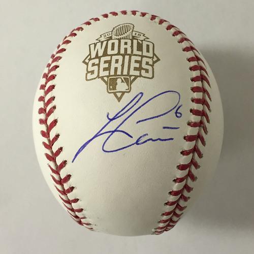Photo of Lorenzo Cain Autographed 2015 World Series Baseball
