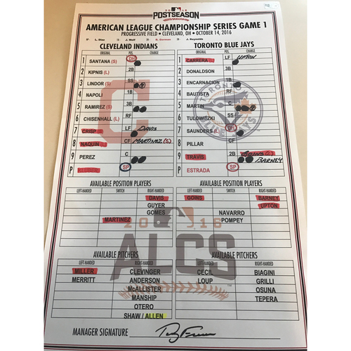 Photo of Game Used Lineup Card: ALCS Game 1 Indians vs. Blue Jays 10/14/16