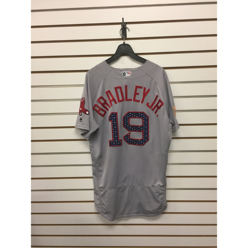 Photo of Jackie Bradley Jr Game-Used July 4, 2017 Stars and Stripes Road Jersey