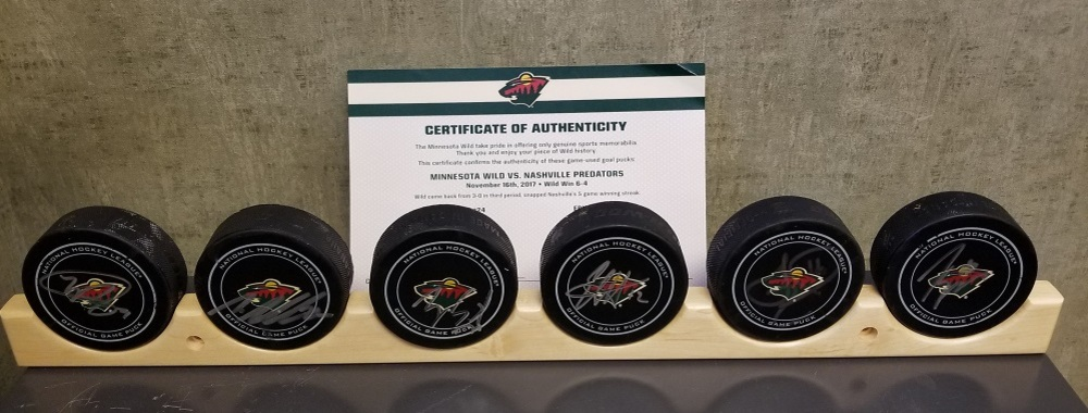 Wild Game Used Goal Puck-Came back from 3-0 in 3rd period, snaps Nashville 5 game win streak