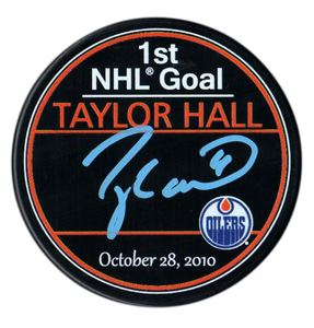 Taylor Hall - Signed 1st NHL Goal Edmonton Oilers Puck