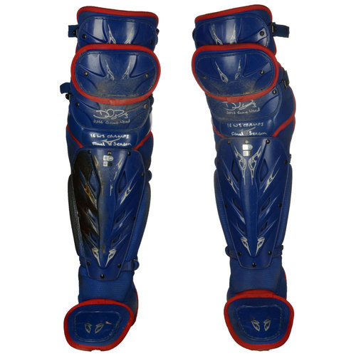 Photo of David Ross Chicago Cubs Autographed 2016 Player Collected Season-Used Pair of Shin Guards with 2016 Game Used, 16 WS Champs, Final Season Inscriptions