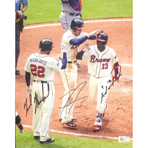 Photo of Braves Charity Auction - Nick Markakis, Freddie Freeman and Adonis Garcia Autographed 8x10 Photo