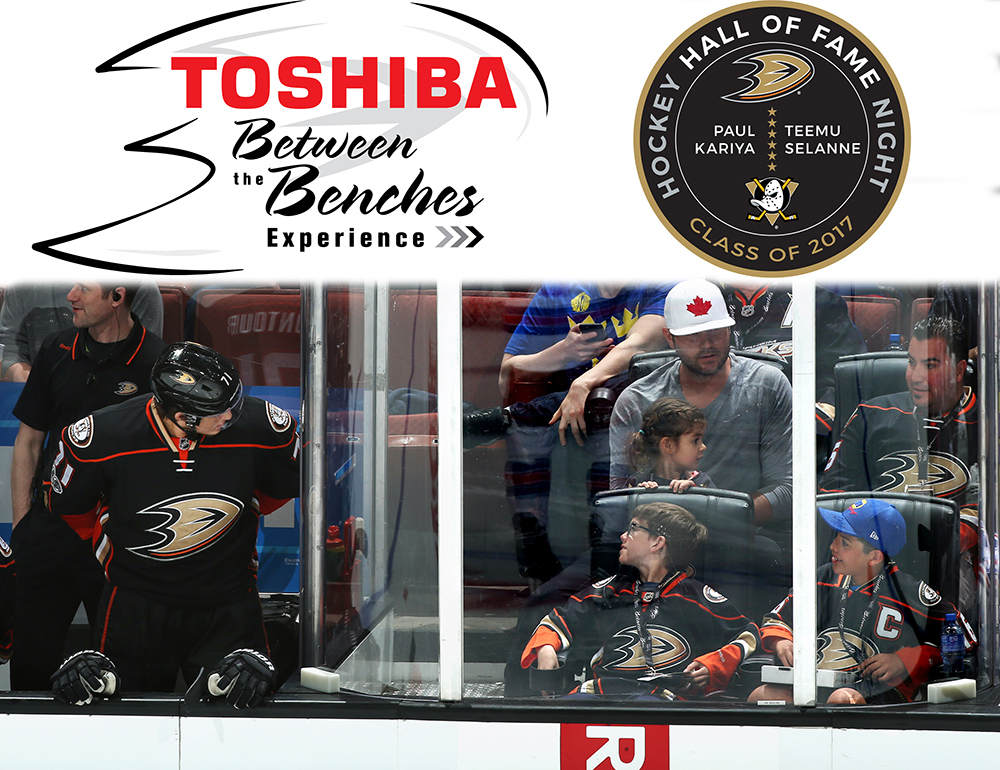 Teemu Selanne and Paul Kariya Hall of Fame Game Experience- TOSHIBA BETWEEN THE BENCHES EXPERIENCE for Anaheim Ducks vs. Florida Panthers on Nov 19th
