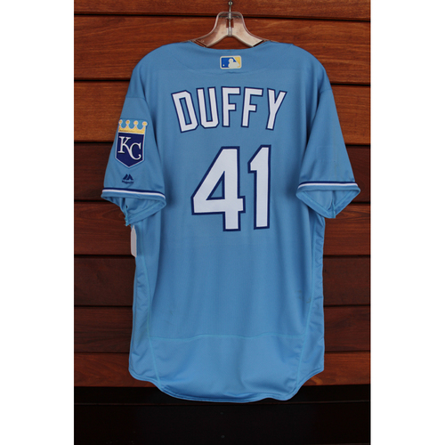 Photo of Game-Used Jersey: Danny Duffy (Size 46 - SEA at KC - Game 1 - 8/6/17)