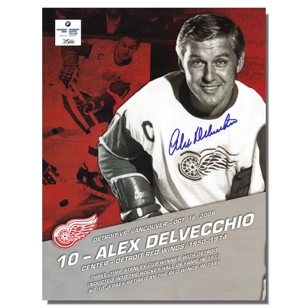 Alex Delvecchio Autographed Detroit Red Wings Flyer/Program