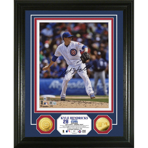 Serial #1! Kyle Hendricks Autographed Gold Coin Photo Mint