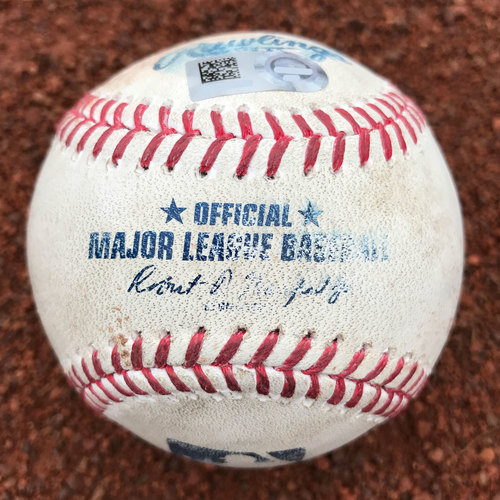 Photo of San Francisco Giants - Game-Used Baseball - Madison Bumgarner Strikes Out Andrew McCutchen (also, David Freese single and Josh Bell pitch in the dirt)