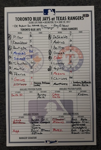 Photo of Authenticated Game Used Line Up Card - June 20, 2017 at Texas Rangers: Beltre HR #447 and moved to 36th All-Time with 1584 RBIs