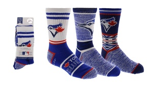 Toronto Blue Jays Youth 3 Pack Half Terry Crew Socks by Gertex