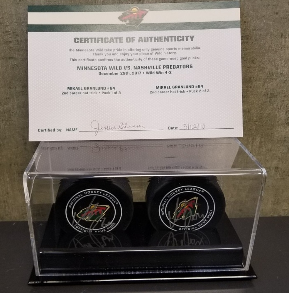 Wild Game Used Goal Puck-Granlund Second Career Hat Trick (Pucks 2 & 3)