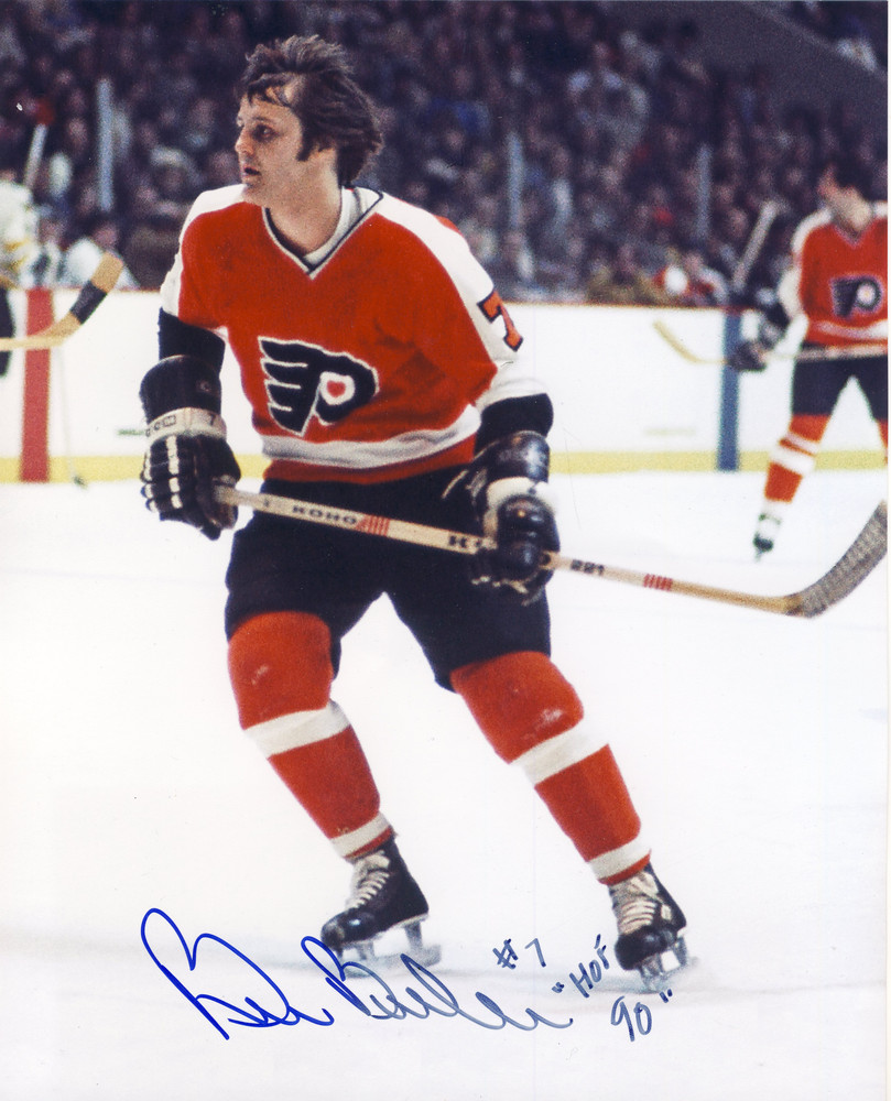 BILL BARBER Philadelphia Flyers SIGNED 8x10 Photo *Signature Slightly Faded & Small Bend in Photo*