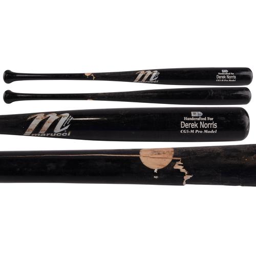 Photo of Derek Norris Padres Game-Used Broken Bat, Single vs. Peavy on 8/23/15