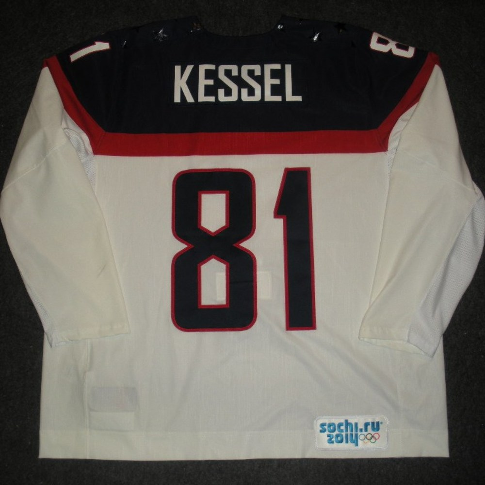 Phil Kessel - Sochi 2014 - Winter Olympic Games - Team USA White Game-Worn Jersey - Worn in Warmups and 1st Period vs. Slovakia, 2/13/14